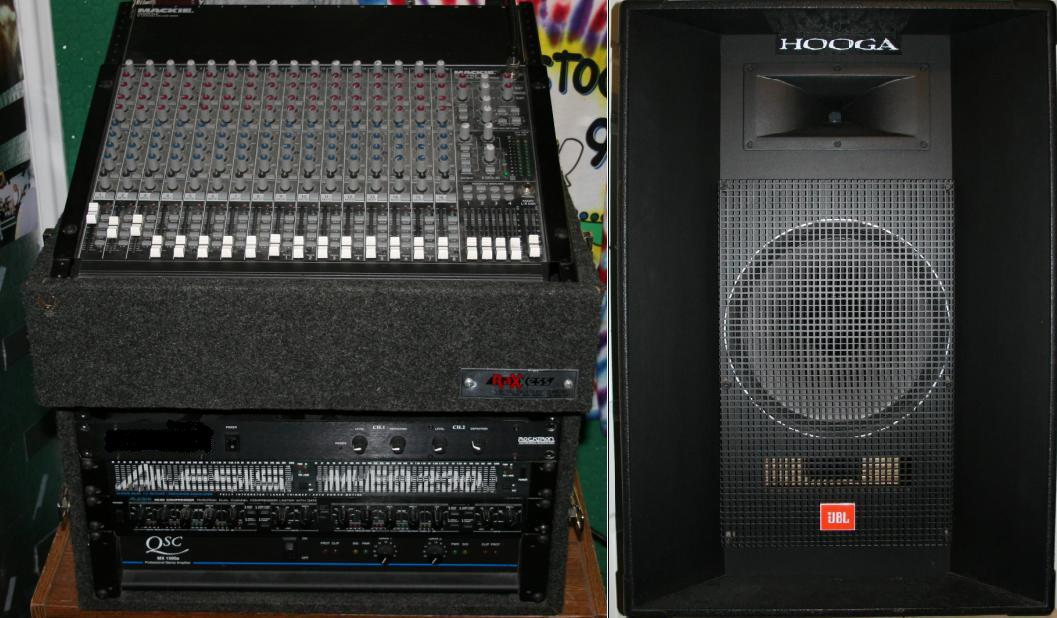 16 Chan Mackie Board, 2 JBL Speakers and QSC power